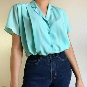 Vintage Notched-collar blouse